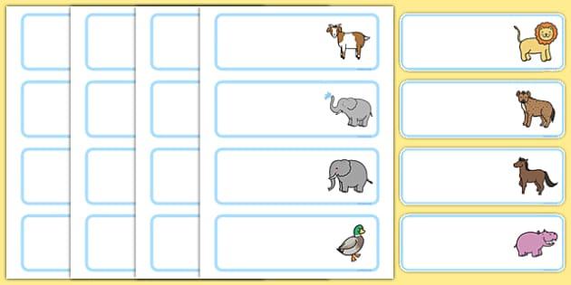 Cute Animal Themed Drawer Labels - cute animal, drawer, peg, name, labels, display
