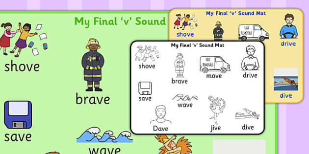 Final 'V' Sound Word Mat 2 - final v, sound, word mat, word, mat
