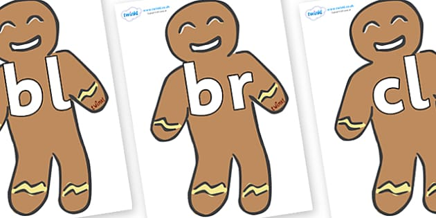 Initial Letter Blends on Gingerbread Men - Initial Letters, initial letter, letter blend, letter blends, consonant, consonants, digraph, trigraph, literacy, alphabet, letters, foundation stage literacy