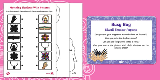 Diwali Shadow Puppets Busy Bag Prompt Card and Resource Pack