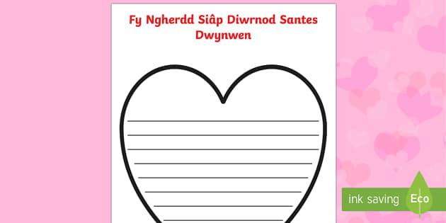 Templed Barddoniaeth Siâp Diwrnod Santes Dwynwen - santes, dwynwen, Ionawr, barddoniaeth, cerdd, cerddi, ysgrifennu,Welsh, dydd , ddydd, ddiwrnod