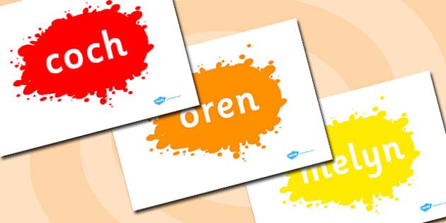 Welsh Colour Words on Splats - welsh, splats, colour, display