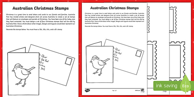 Australian Christmas Stamps Activity Sheet-Australia
