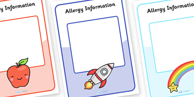 Editable Allergy Information Sheets (A4) - Dietary requirement, diet, diet information, allergy, allergies, lunch, lunch requirements, halal, nut, vegan, vegetarian
