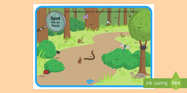 Phase 5 ou Words Minibeasts Scene Magnifying Glass Activity Sheet - phonics, letters and sounds, phase 5, ou sound, magnifier, magnifying glass, find, activity, group,