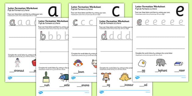 Letter Formation Worksheets Romanian Translation - english, writing, pd, fine motor skills, pen, pencil, letters, early years, ks1