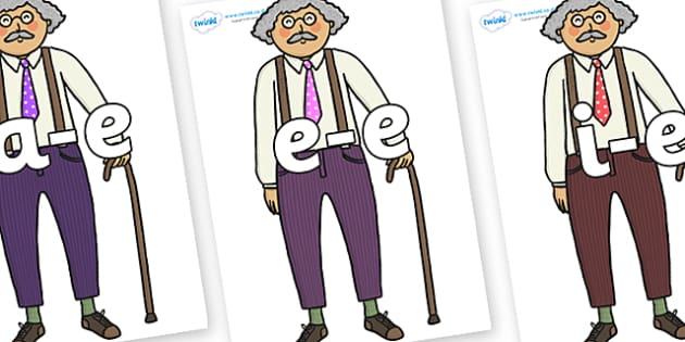 Modifying E Letters on Little Old Man - Modifying E, letters, modify, Phase 5, Phase five, alternative spellings for phonemes, DfES letters and Sounds