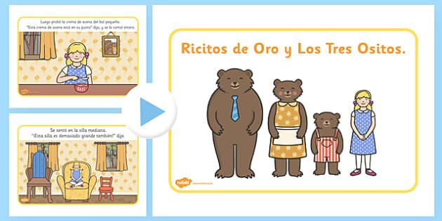 Ricitos de Oro y Los Tres Ositos Story PowerPoint Spanish - spanish, goldilocks, story, powerpoint