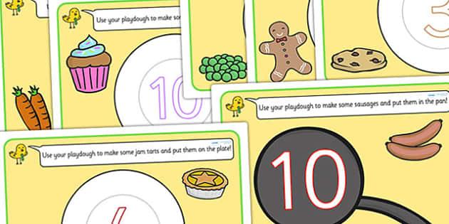 Food Counting Playdough Mats - fine motor skills, eating, health