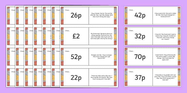 2-Step Money Word Problem Loop Cards