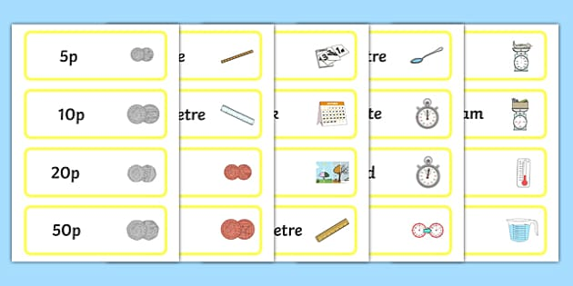 Measures Vocabulary Picture and Word Cards - measures, word cards