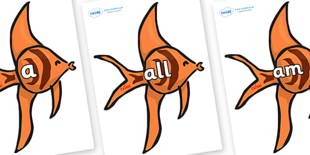 Foundation Stage 2 Keywords on Angel Fish - FS2, CLL, keywords, Communication language and literacy,  Display, Key words, high frequency words, foundation stage literacy, DfES Letters and Sounds, Letters and Sounds, spelling