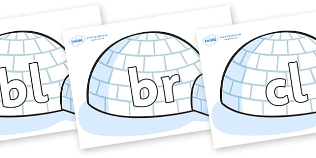 Initial Letter Blends on Igloos - Initial Letters, initial letter, letter blend, letter blends, consonant, consonants, digraph, trigraph, literacy, alphabet, letters, foundation stage literacy