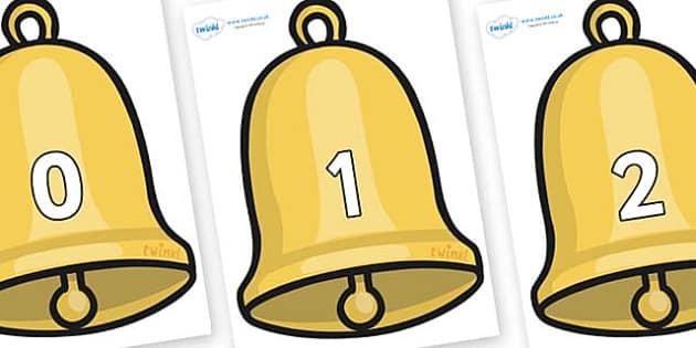 Numbers 0-100 on Christmas Bell - 0-100, foundation stage numeracy, Number recognition, Number flashcards, counting, number frieze, Display numbers, number posters