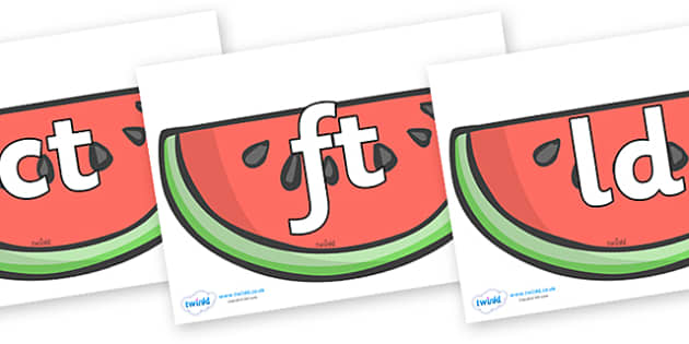 Final Letter Blends on Watermelons to Support Teaching on The Very Hungry Caterpillar - Final Letters, final letter, letter blend, letter blends, consonant, consonants, digraph, trigraph, literacy, alphabet, letters, foundation stage literacy