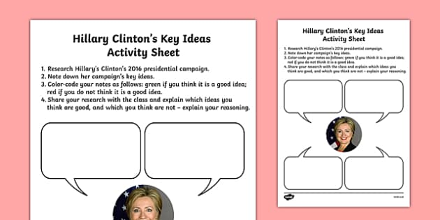 Hillary Clinton's Key Ideas Activity Sheet, worksheet