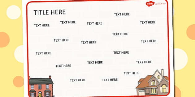 Houses and Homes Themed Editable Word Mat - literacy, words