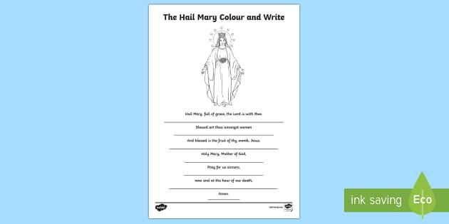 Hail Mary Colour and Write Activity Sheet - CfE Catholic Christianity, prayers, mass responses, Hail Mary, Scottish, worksheet