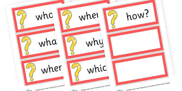 Question Word Cards - Question Words Primary Resources, question, interrogative, words
