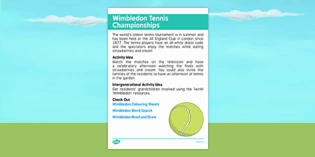 Elderly Care Calendar Planning June 2016 Wimbledon Tennis Championships - Elderly Care, Calendar Planning, Care Homes, Activity Co-ordinators, Support, June 2016