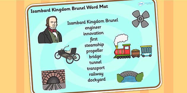 Isambard Kingdom Brunel Word Mat - isambard kingdom brunel, brunel,  word mat, topic words, topic mat, themed word mat, writing aid, mat of words, key word