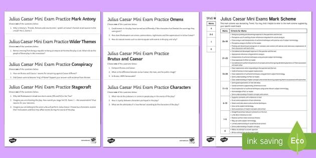 Julius Caesar Mini Exam Pack - antony, conspiracy, characters, brutus, omens, stagecraft