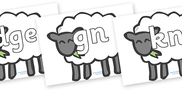 Silent Letters on Sheep - Silent Letters, silent letter, letter blend, consonant, consonants, digraph, trigraph, A-Z letters, literacy, alphabet, letters, alternative sounds