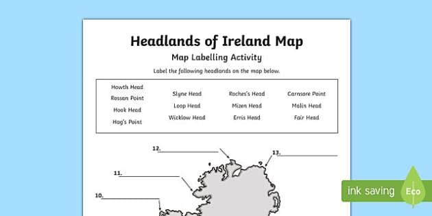 Headlands of Ireland Map Activity Sheet-Irish