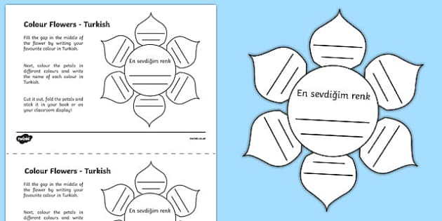 MFL Turkish Colour Flowers Activity Sheet, worksheet