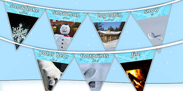 Winter Photo Display Bunting Arabic Translation - arabic, winter, bunting, photo, display