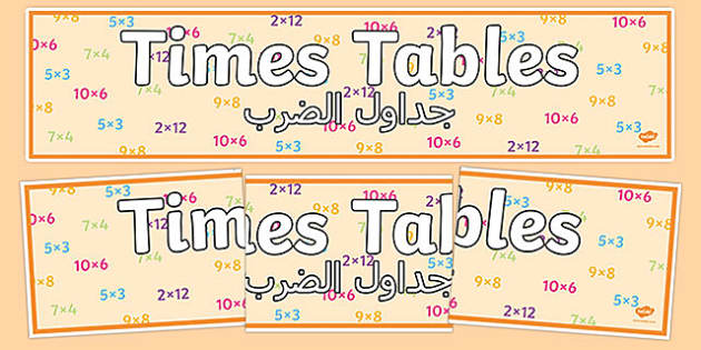 Times Tables Display Banner Arabic Translation - times tables, display banner, display, bannerarabic,