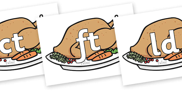 Final Letter Blends on Christmas Turkeys - Final Letters, final letter, letter blend, letter blends, consonant, consonants, digraph, trigraph, literacy, alphabet, letters, foundation stage literacy