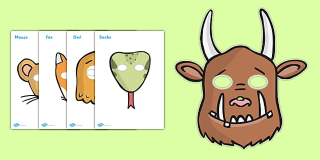 The Gruffalo Role Play Masks - The Gruffalo, resources, mouse, fox, owl, snake, Gruffalo, fantasy, rhyme, story, story book, story book resources, story sequencing, story resources, role play mask, role play,
