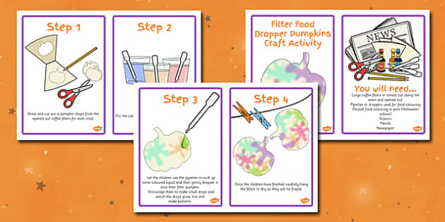 Filter Food Dropper Pumpkins Activity Instructions - activity
