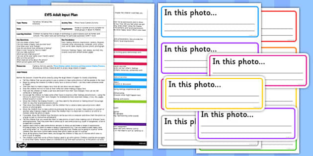 Photo Faces Camera Activity EYFS Adult Input Plan and Resource Pack