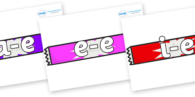 Modifying E Letters on Candy Bars - Modifying E, letters, modify, Phase 5, Phase five, alternative spellings for phonemes, DfES letters and Sounds