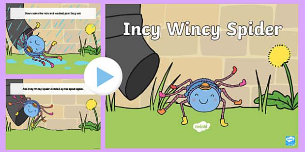 Incy Wincy Spider PowerPoint -  incy wincy spider, nursery rhymes, nursery rhyme powerpoint, incy wincy spider nursery rhyme powerpoint, rhyme, song