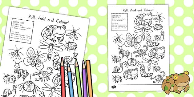 Minibeast Cute Roll and Colour Worksheet - dice games, games