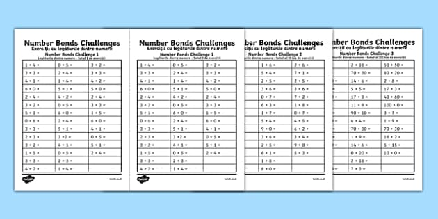 Number Bond Challenge Activity Sheet Romanian Translation - romanian, KS1 Maths, number bonds, pair, matching, total, solve, find, reason, practise, recall, add, addition, plus, sum, altogether, worksheet