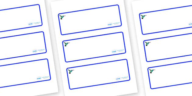 Hummingbird Themed Editable Drawer-Peg-Name Labels (Blank) - Themed Classroom Label Templates, Resource Labels, Name Labels, Editable Labels, Drawer Labels, Coat Peg Labels, Peg Label, KS1 Labels, Foundation Labels, Foundation Stage Labels, Teaching