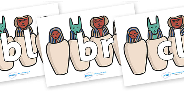 Initial Letter Blends on Egyptian Jars - Initial Letters, initial letter, letter blend, letter blends, consonant, consonants, digraph, trigraph, literacy, alphabet, letters, foundation stage literacy