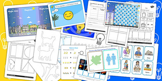 Light and Dark Activity Pack - science, activities, games, night