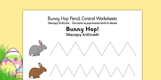 Bunny Hop Pencil Control Worksheets Polish Translation - polish, easter, fine motor skills