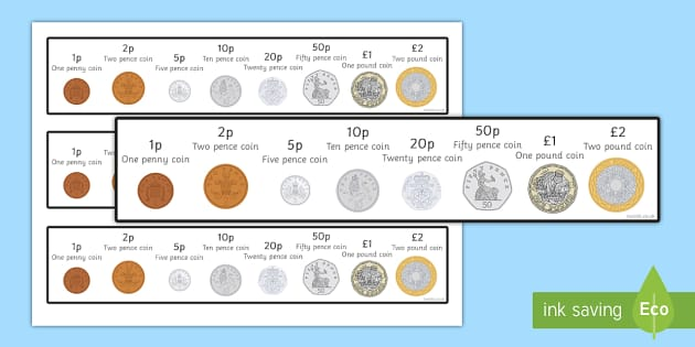 New British (UK) Coins Strips - coins, money, counting aid, maths