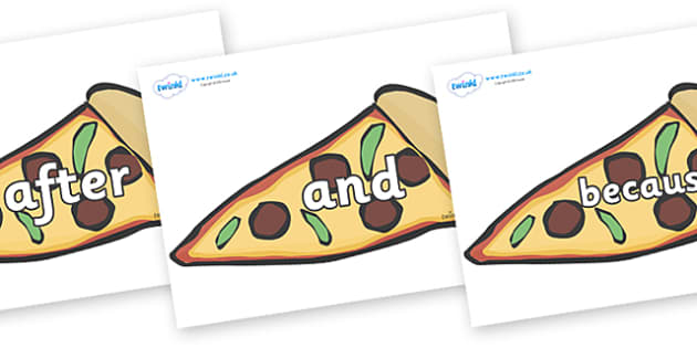 Connectives on Pizza Slices - Connectives, VCOP, connective resources, connectives display words, connective displays