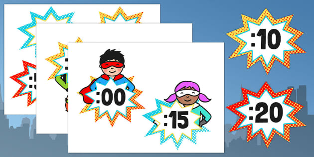 Superhero Themed Analogue to Digital Clock Labels - labels, clock