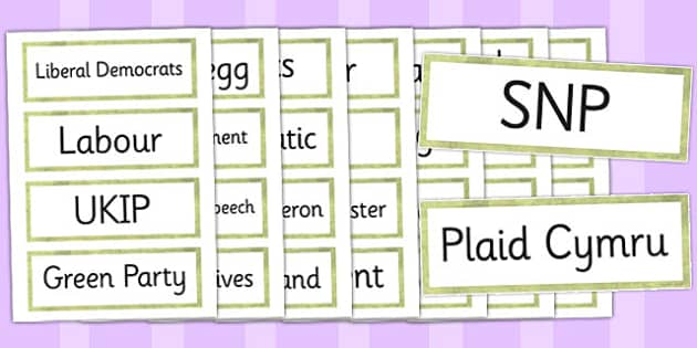 UK Elections 2015 Word Cards - word cards, elections, uk, 2015