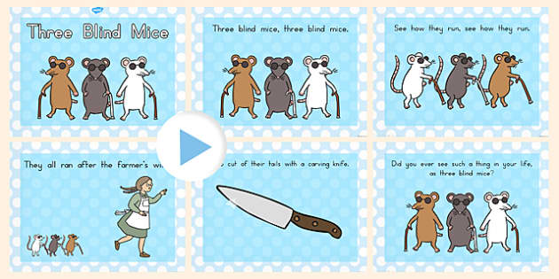 Three Blind Mice Story PowerPoint - powerpoints, mouse, stories