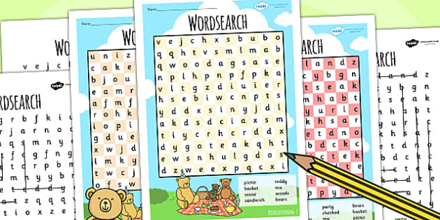 Teddy Bears Picnic Wordsearch Differentiated - teddy, bears, game