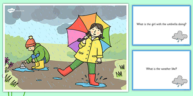 Spring Showers Scene and Question Cards - spring, spring showers, questions, comprehension pack